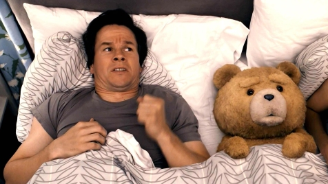 Ted - Mark Wahlberg and Ted (voice of Seth MacFarlane)