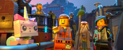 The LEGO Movie - Benny (Charlie Day), Batman (Will Arnett), Princess Uni-Kitty (Alison Brie), Emmet (Chris Pratt), Vitruvius (Morgan Freeman), Wyldstyle (Elizabeth Banks)