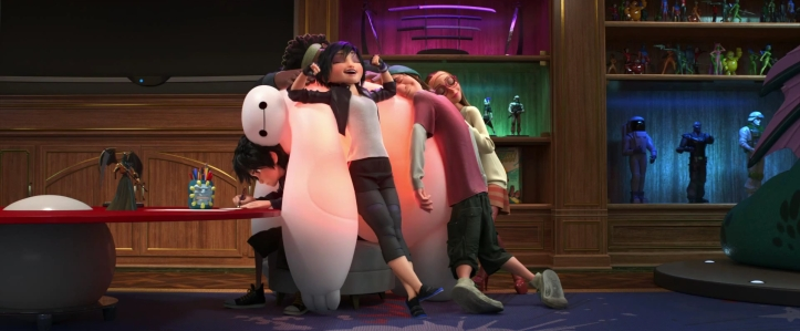 Big Hero 6 - the team hugging Baymax