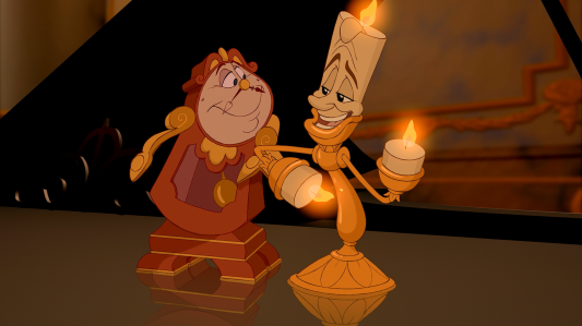 Beauty and the Beast (1991) - Cogsworth (David Ogden Stiers), Lumiere (Jerry Orbach).png